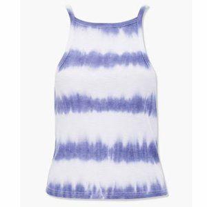 Blue & White Ribbed Tie-Dye Cami Cropped Tank Top
